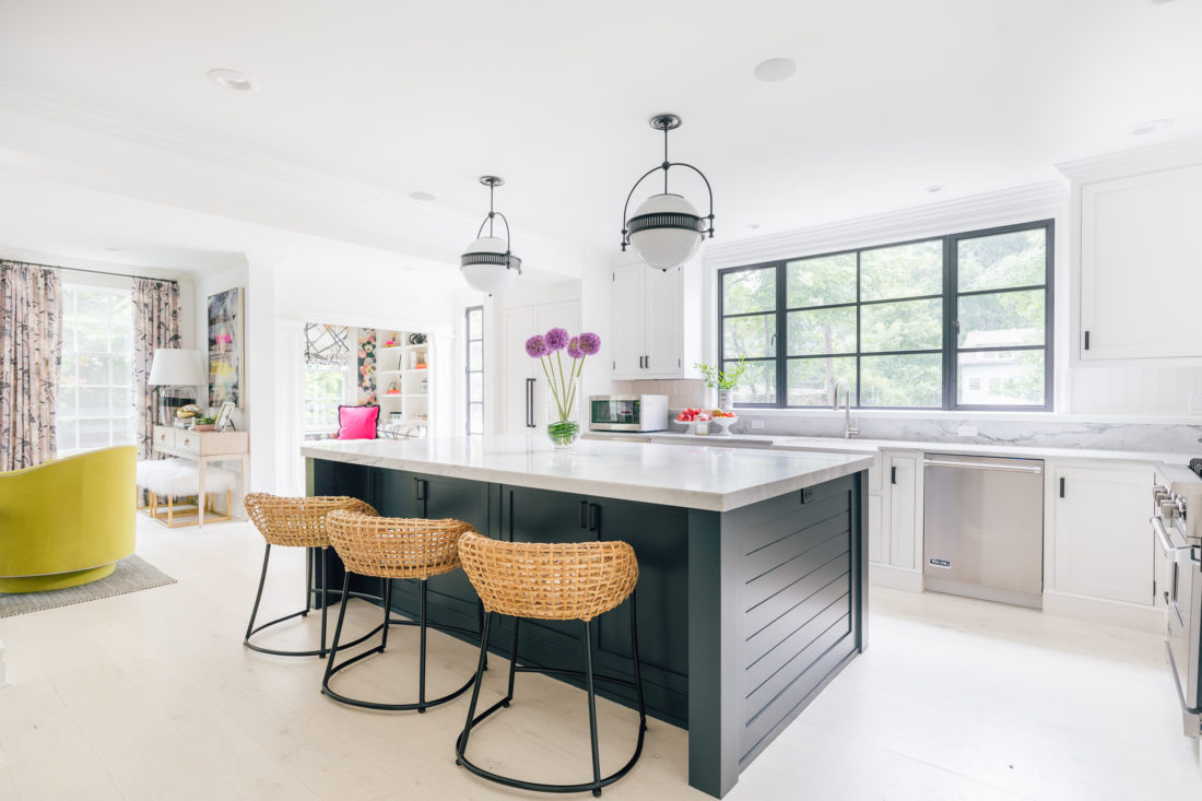 Eva Amurri Martino shares a wide view of the open plan, renovated, white and bright kitchen in her historic Connecticut home