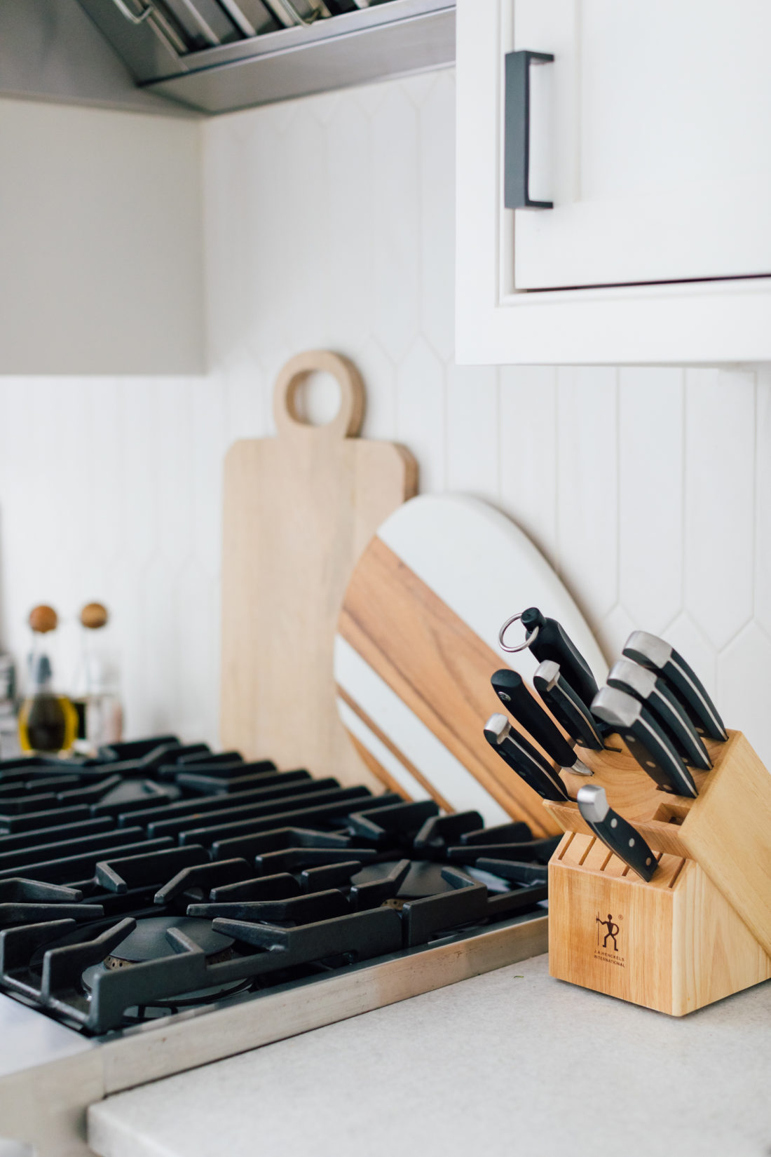 Eva Amurri Martino shares a close up shot of the backsplash and stovetop in her renovated Connecticut kitchen