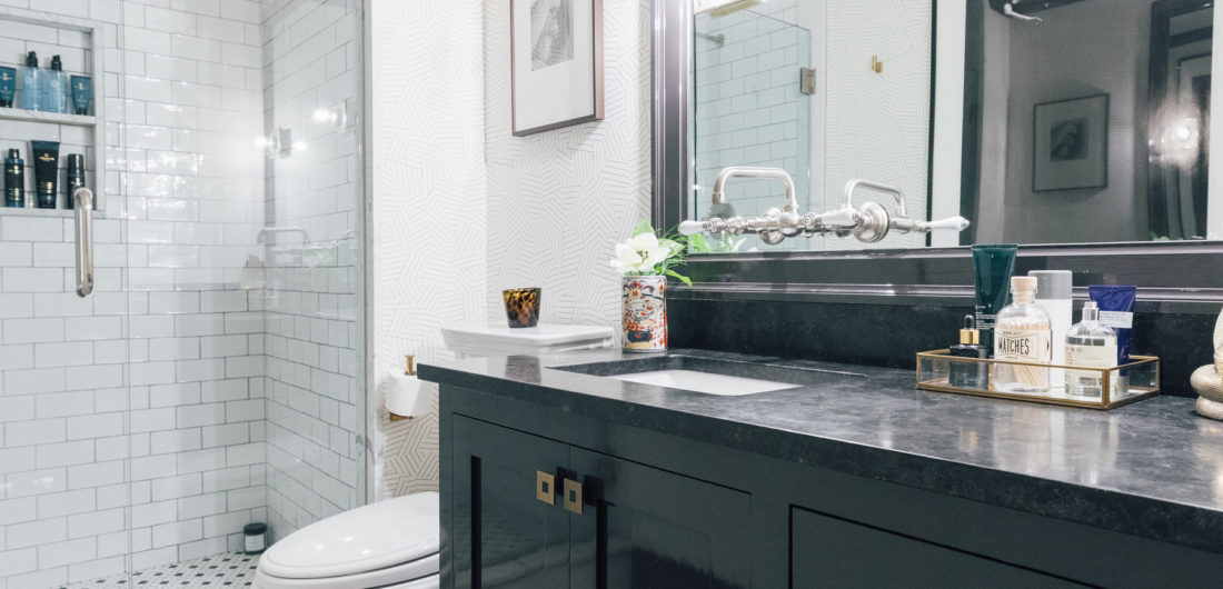 Kyle Martino's masculine bathroom in his newly renovated Connecticut home