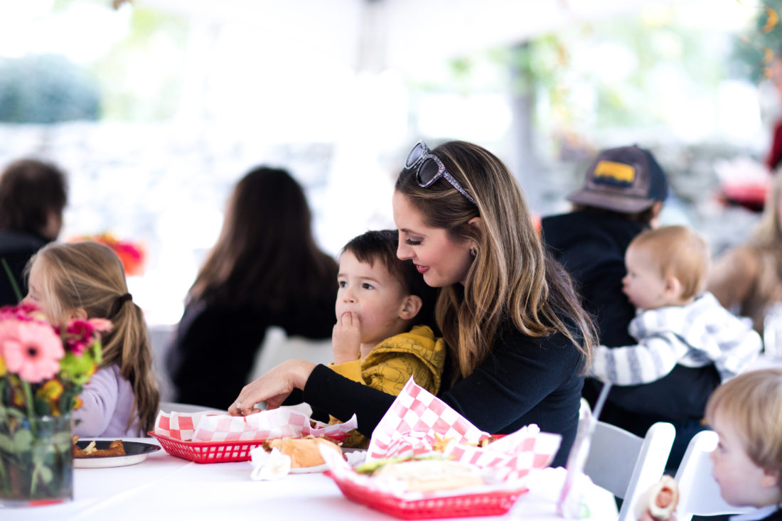 Eva Amurri Martino lovingly holds son Major on her lap at his Construction Zone themed birthday party