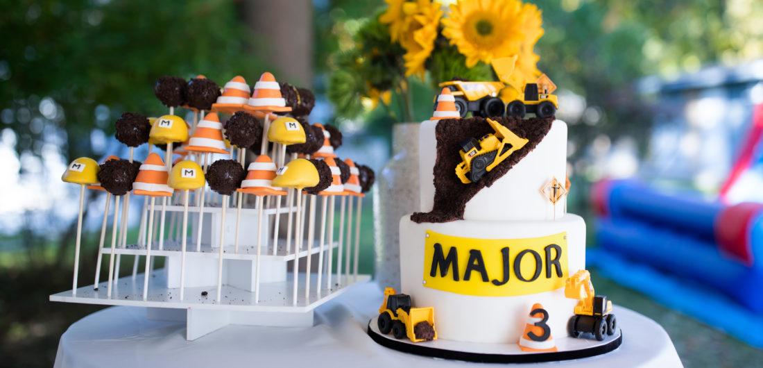 Major Martino's Construction Zone Birthday Cake and Cake Pops