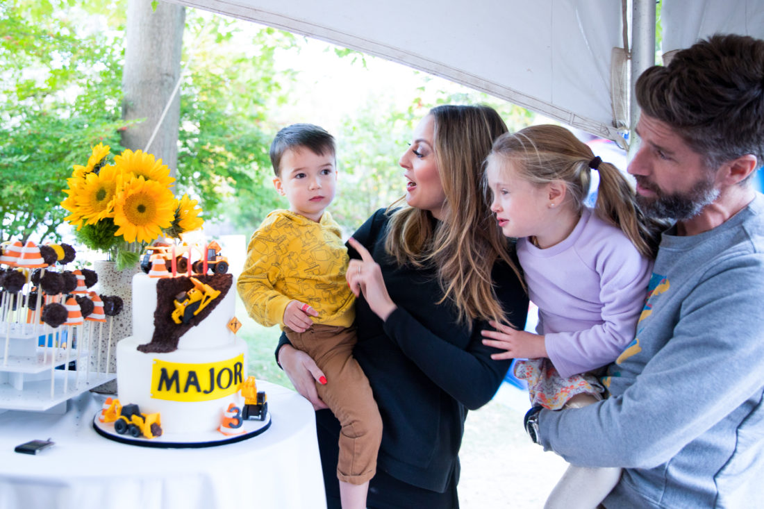 The Martino's sing happy birthday to son Major at his Construction Zone themed birthday party