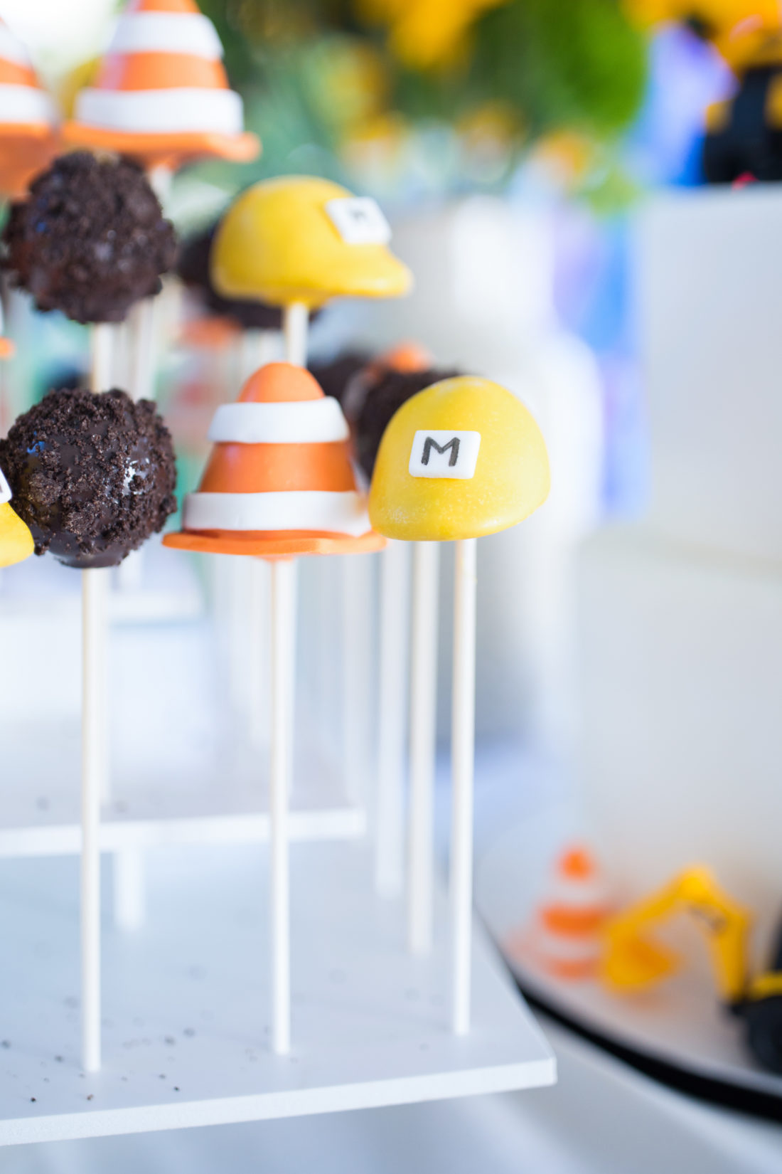 The Construction Zone Themed Cake Pops at Major Martino's 3rd Birthday Party
