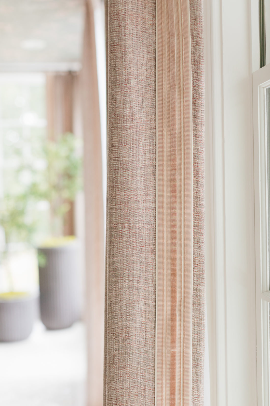 A closeup of the Schumacher Drapery in Eva Amurri Martino's newly renovated dining room