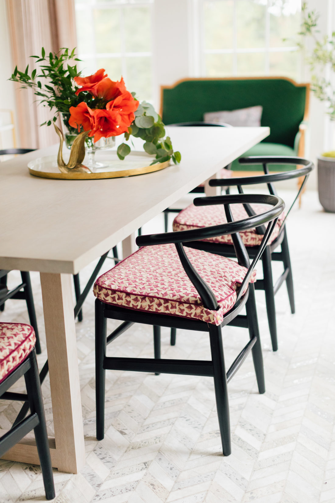 The custom cushions on the dining chairs in Eva Amurri Martino's newly renovated dining room