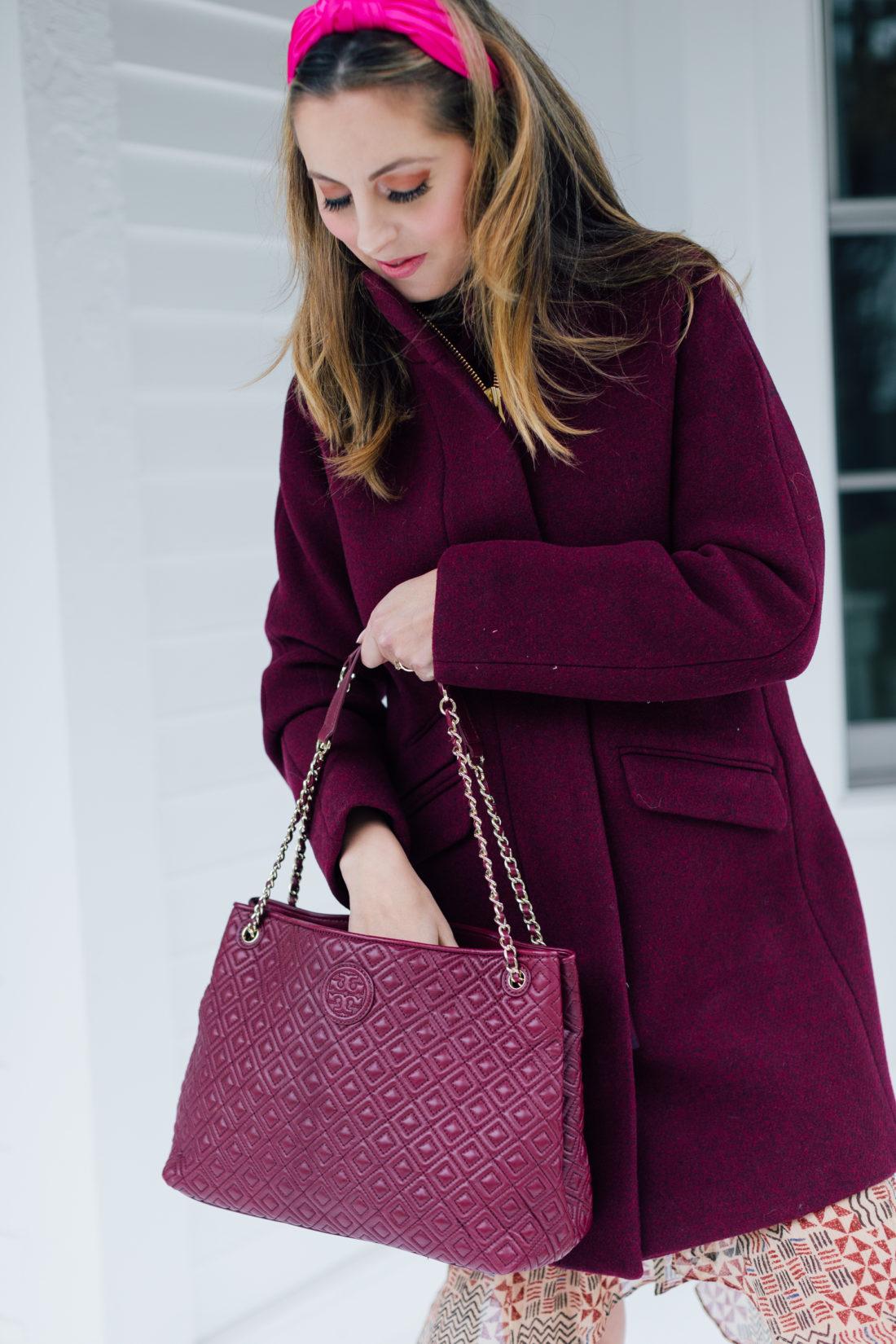 Eva Amurri Martino wears an inexpensive Maroon Winter Coat from J.Crew