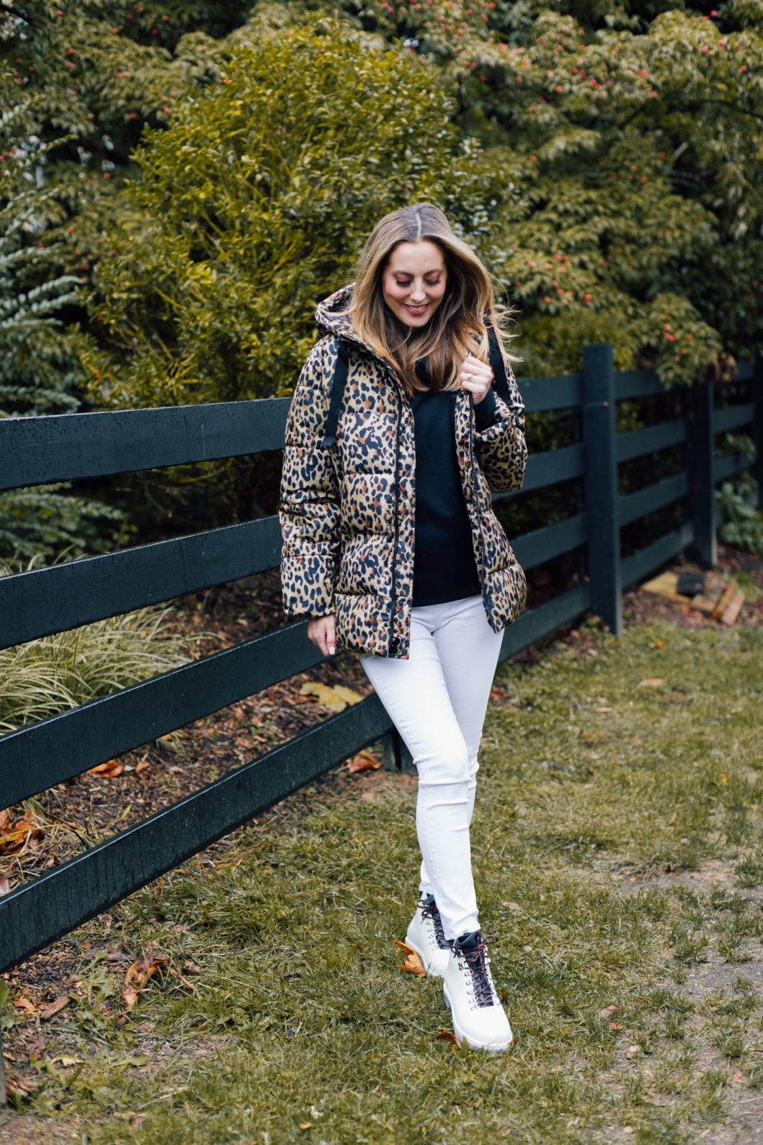 Eva Amurri Martino wears an inexpensive leopard print winter coat from the Gap