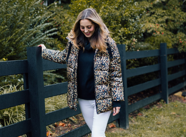 Eva Amurri Martino wears an inexpensive leopard print winter coat from the Gap