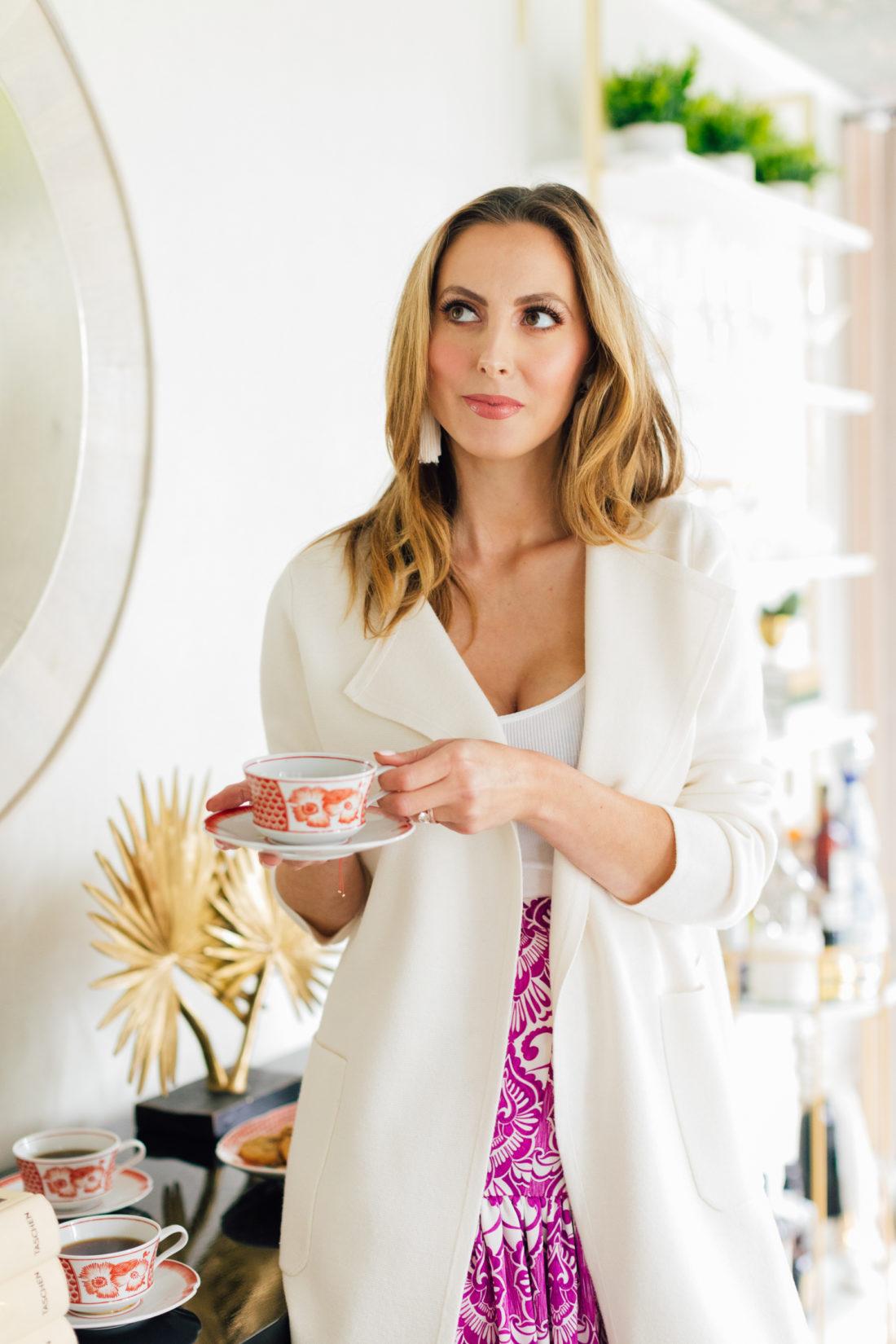 Eva Amurri Martino sips coffee from an Oscar de la Renta's Coralina China