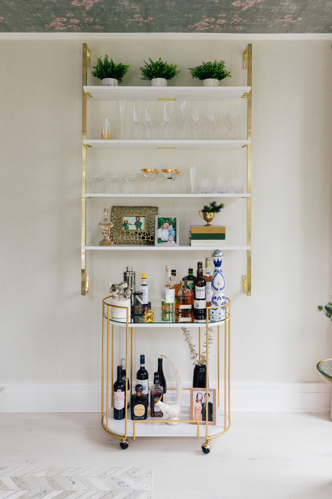 The bar cart and wall shelving in Eva Amurri Martino's newly renovated dining room