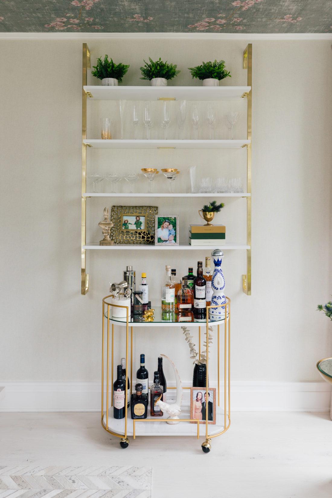 The bar cart and wall shelving in Eva Amurri Martino's newly renovated dining room