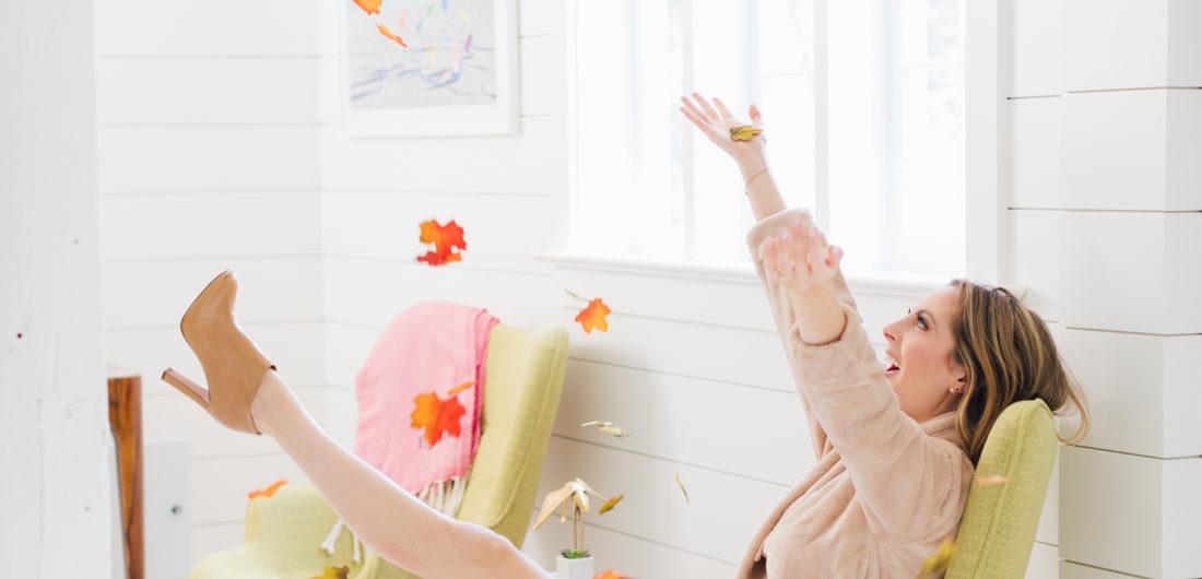 Eva Amurri Martino throws flowers in the Happily Eva After Studio
