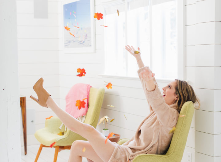 Eva Amurri Martino throws flowers in the Happily Eva After Studio