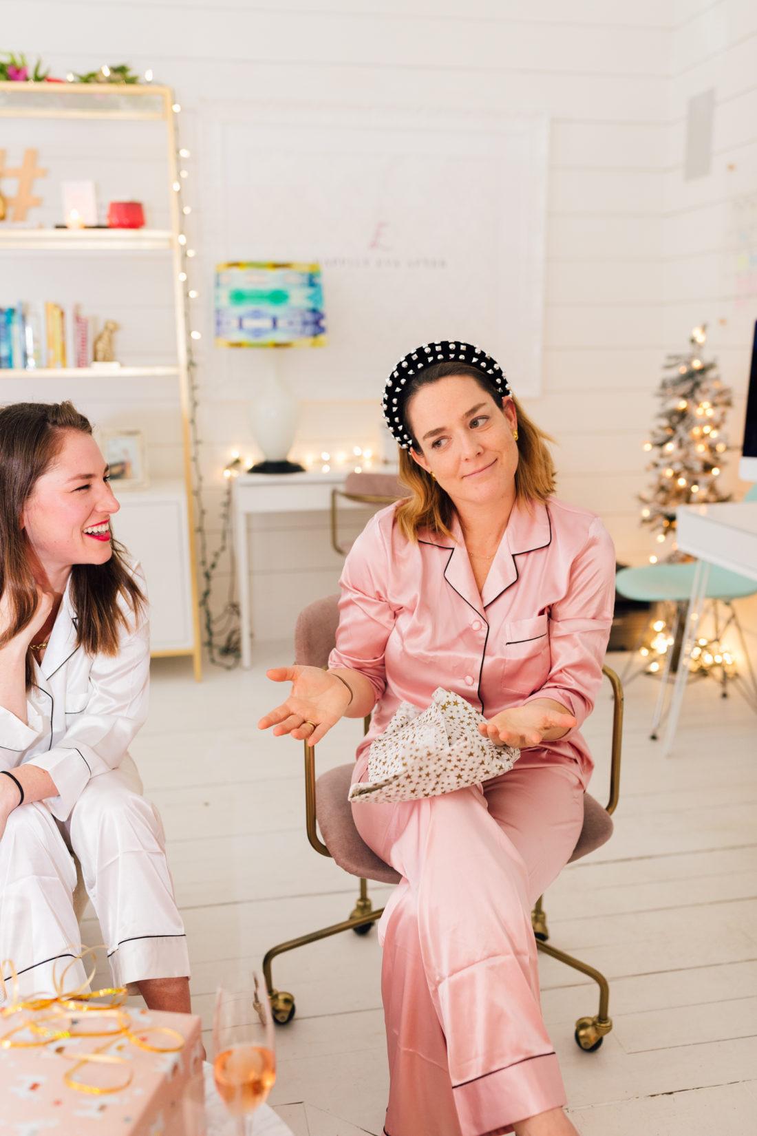 Eva Amurri poses with her girlfriends in their matching silk pajamas