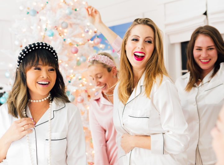 Eva Amurri poses with her girlfriends in their matching silk pajamas