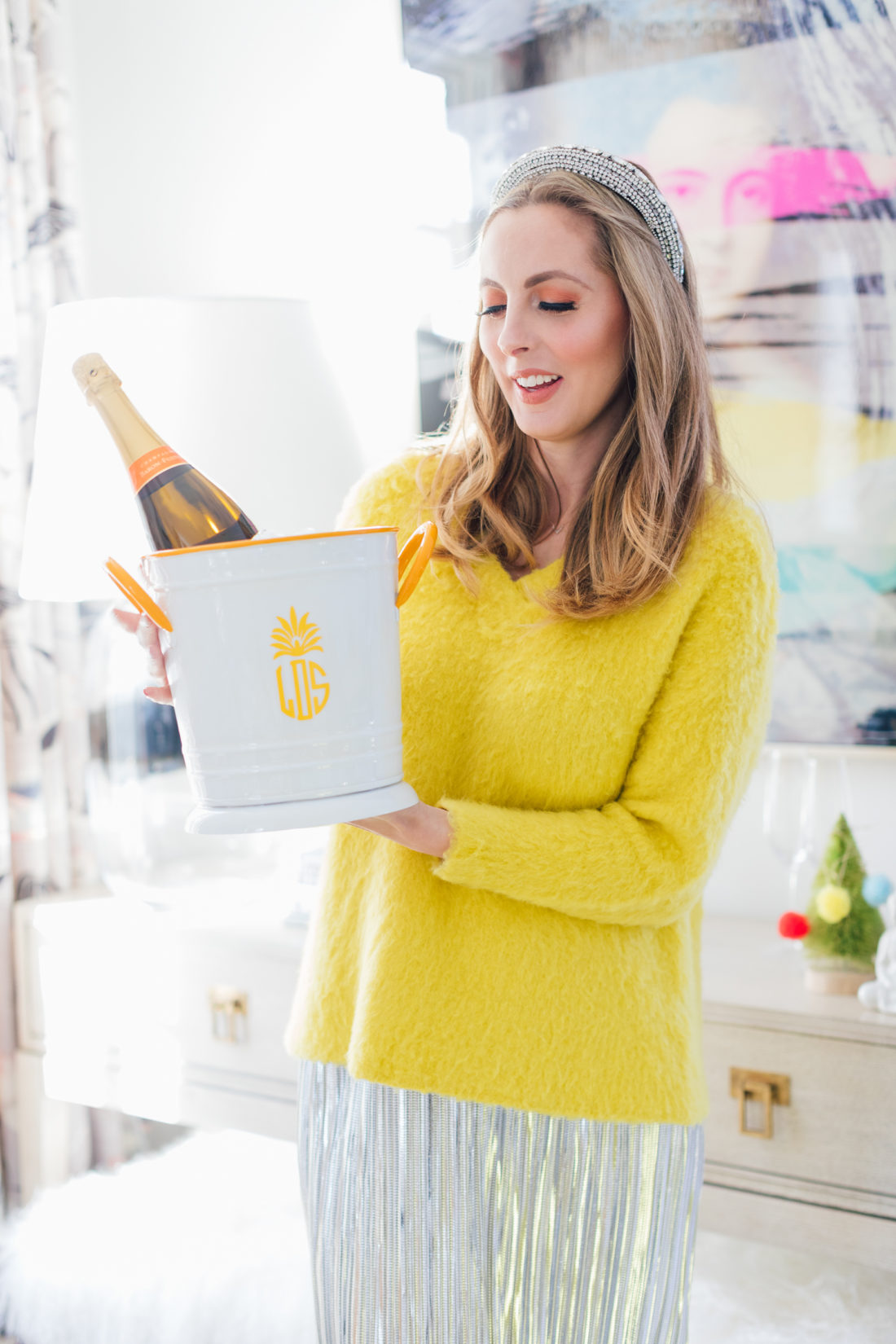Eva Amurri Martino holds one of her favorite hostess gifts under $50: a Monogrammed Mark & Graham Enamel Ice Bucket