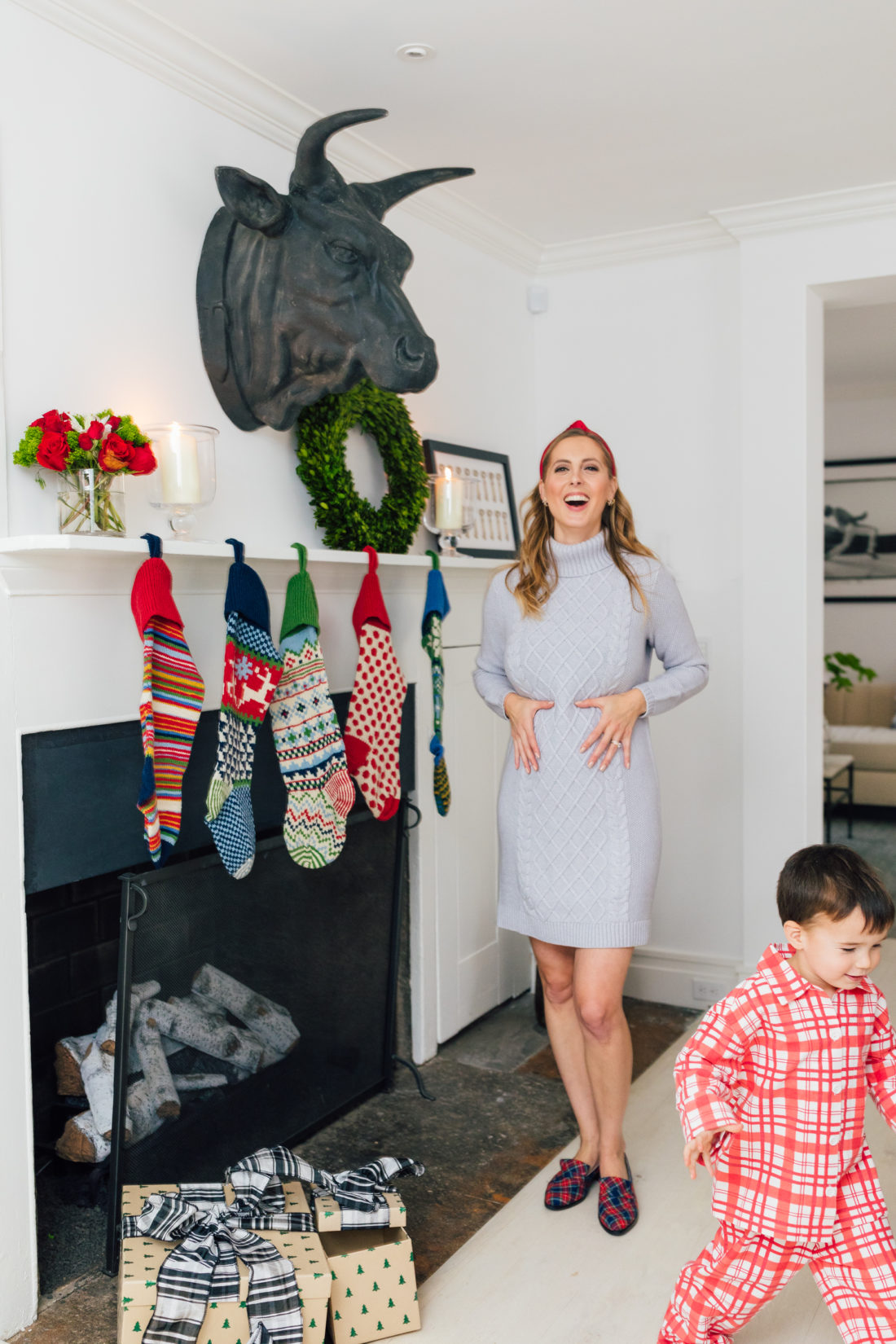 Eva Amurri Martino shares her favorite gifts from Garnet Hill, including these knit Christmas Stockings