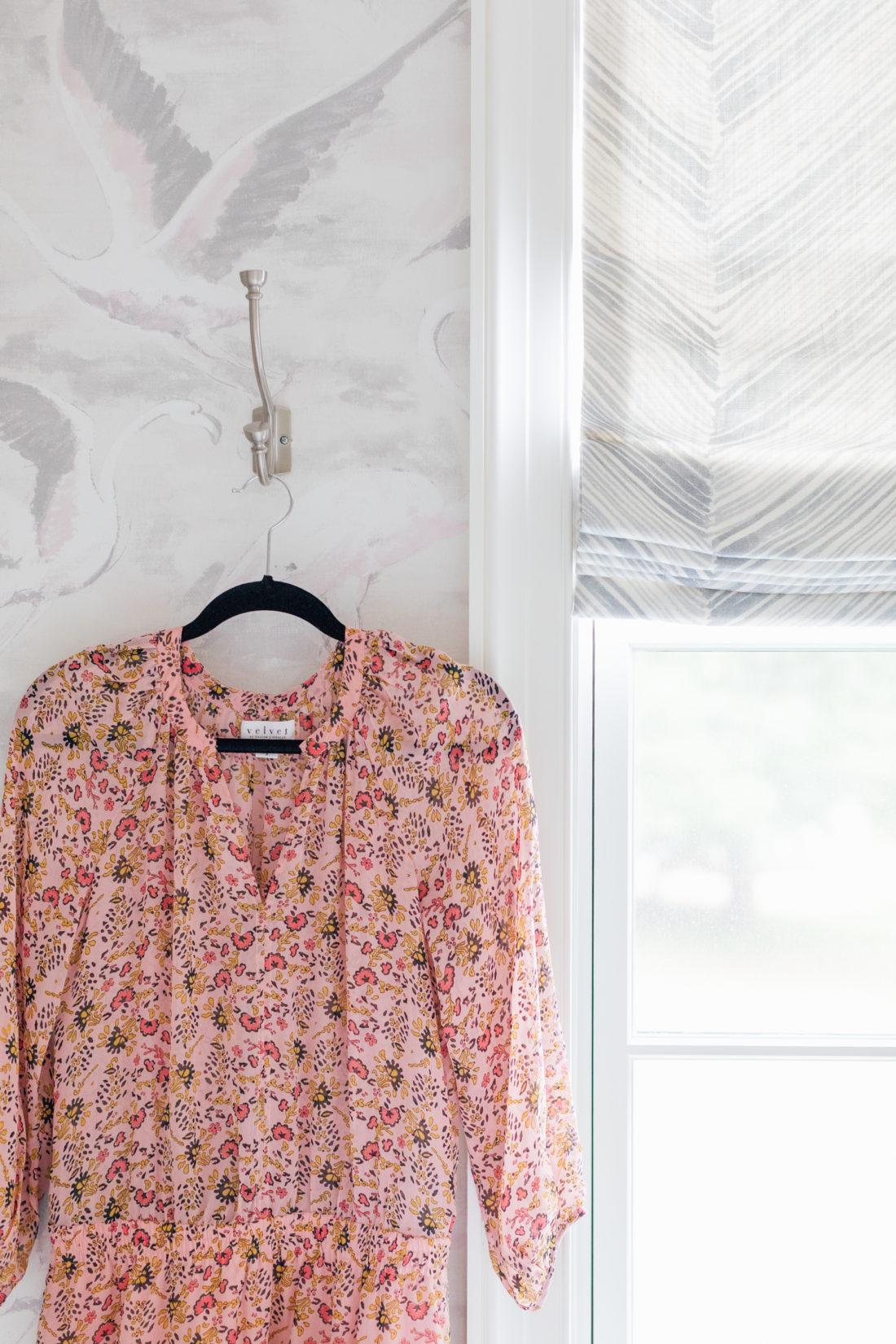 Eva Amurri's Connecticut bathroom featuring Schumacher shade fabric
