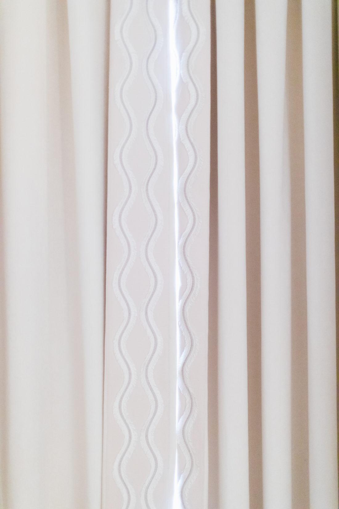 Eva Amurri's Connecticut master bedroom featuring Schumacher curtain fabric