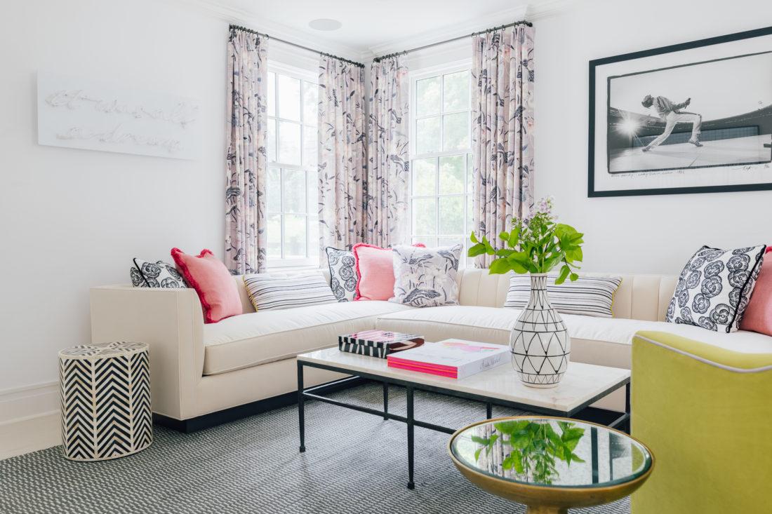 Eva Amurri's Connecticut living room featuring Schumacher fabric and wallpaper