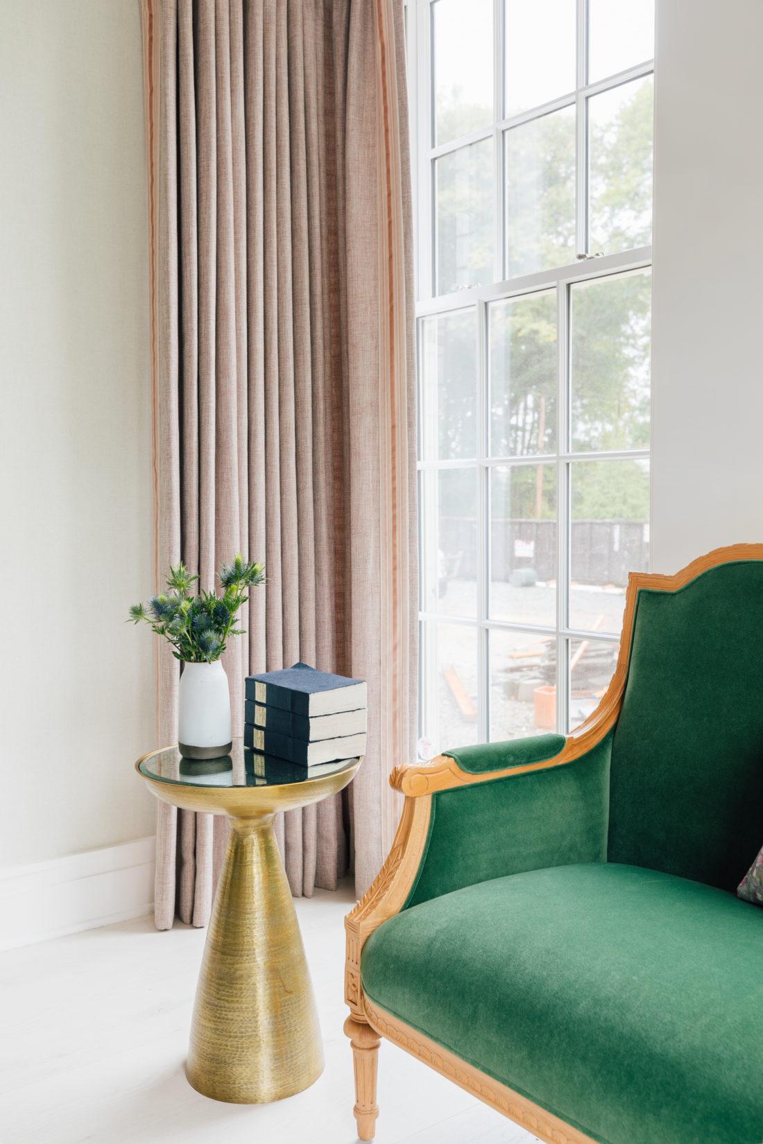 Eva Amurri's Connecticut dining room featuring Schumacher curtain fabric