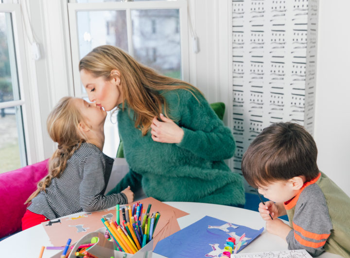 Eva Amurri kisses daughter Marlowe while they color in their playroom