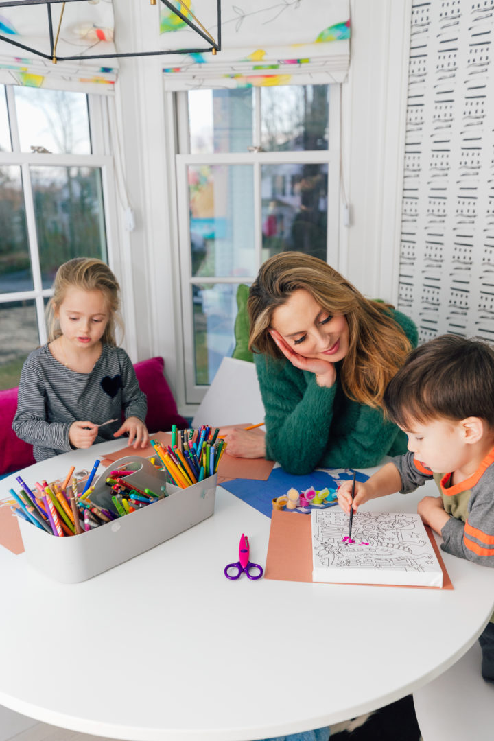 Eva Amurri colors with her kids in their playroom