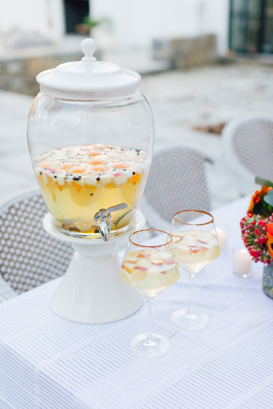 A fall sangria served at Eva Amurri's outdoor movie night on the back patio of her Connecticut home