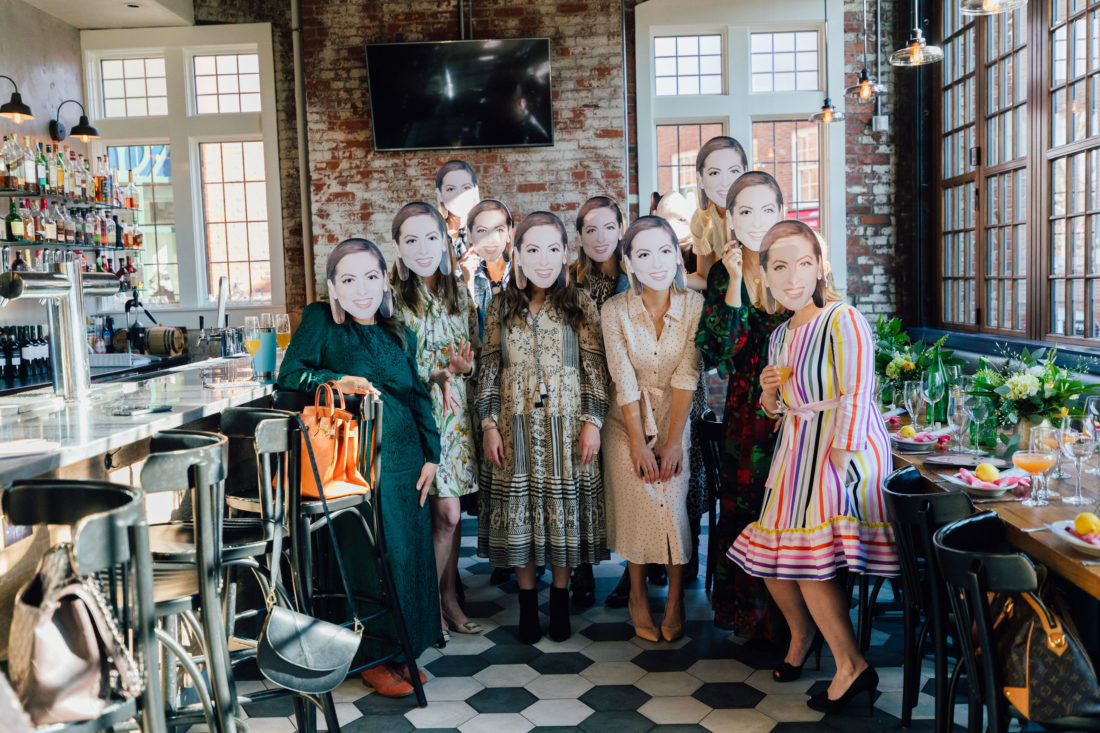 Blogger Eva Amurri's friends wearing masks of her face to surprise her at her Baby Sprinkle