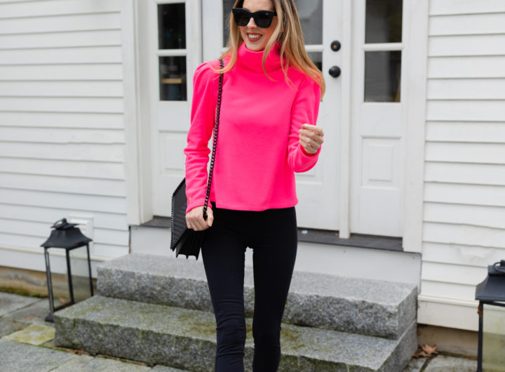 Eva Amurri wears the new Dudley Stephens Palmer Puff Sleeve Fleece in Neon Pink