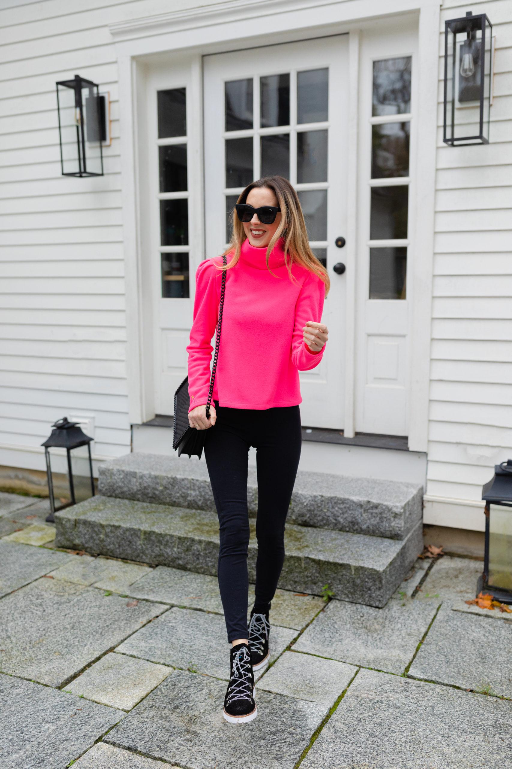 Eva Amurri wears the new Dudley Stephens Palmer Puff Sleeve Fleece in Neon Pink