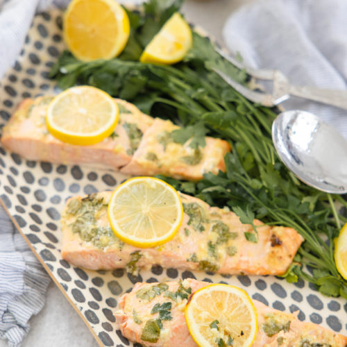 Eva Amurri shares a recipe for baked salmon with lemon garlic dijon