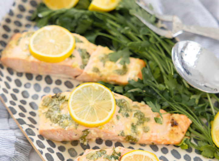 Eva Amurri shares a recipe for baked salmon with lemon garlic dijon