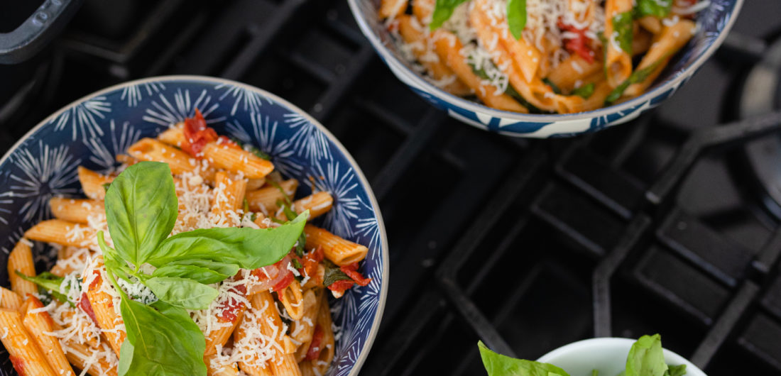 Eva Amurri shares a one-pot tomato basil pasta recipe