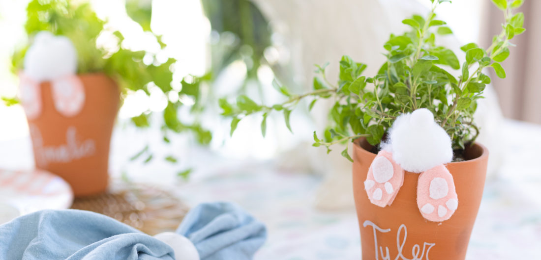 Eva Amurri shares an adorable Easter Bunny Potted Plant Place Card craft.