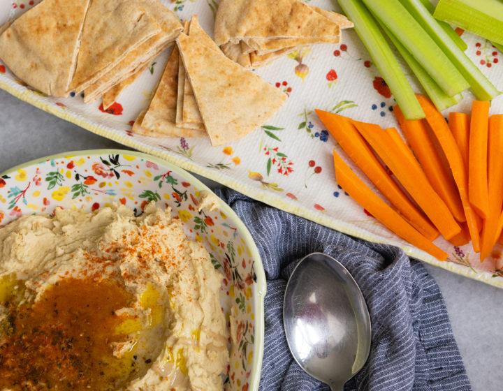 Eva Amurri shares her recipe for Homemade Creamy Lemon Garlic & Tahini Hummus