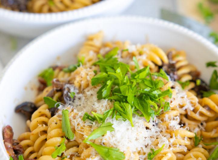 Eva Amurri shares her family's Creamy Olive Pasta recipe
