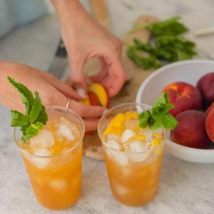 Eva Amurri shares a recipe for her Spiced Bourbon Peach Smash Cocktail