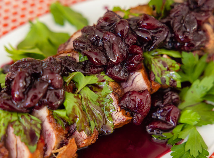 Eva Amurri shares a recipe for Grilled Pork Tenderloin with Spiced Cherry Sauce