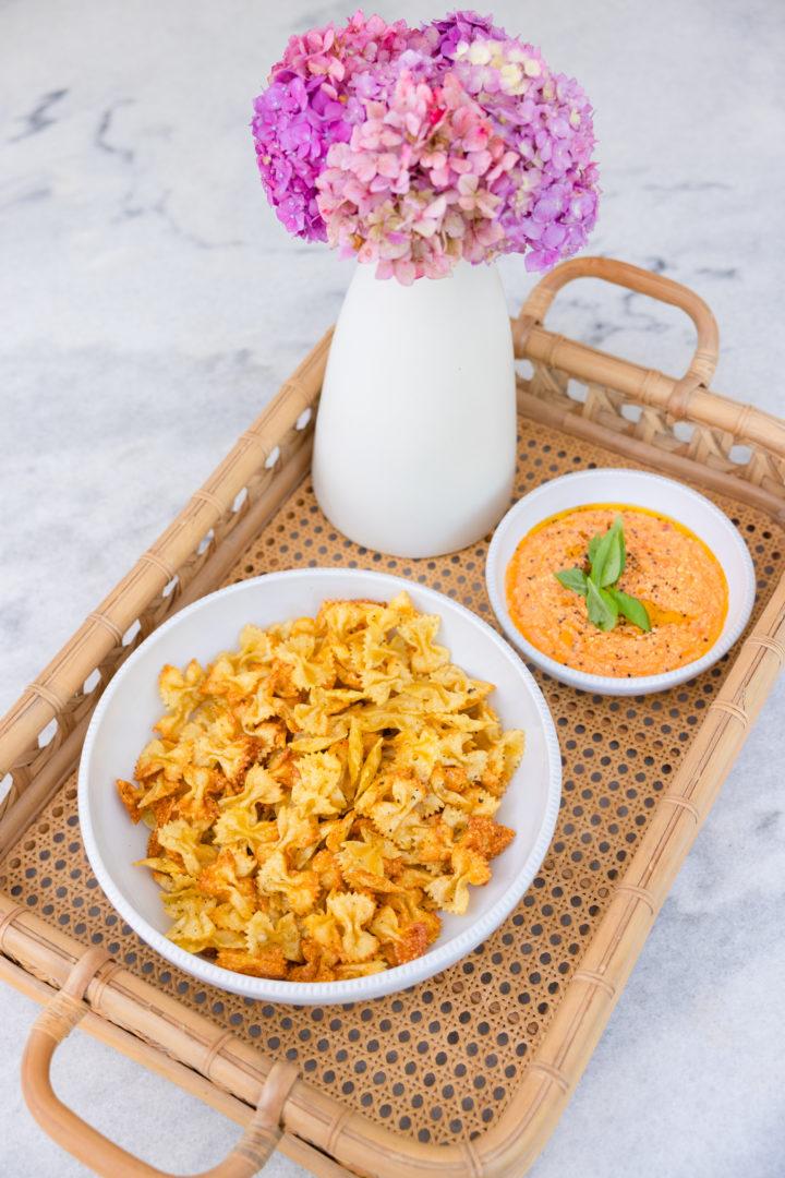 Eva Amurri shares a recipe for Air Fryer Pasta Chips with Whipped Marinara Dip